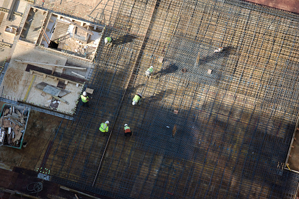 Construction Site「Rebar mesh set for formwork, aerial view」:写真・画像(4)[壁紙.com]
