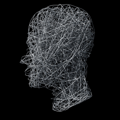 Brain「Head made out of wires on black background」:スマホ壁紙(4)