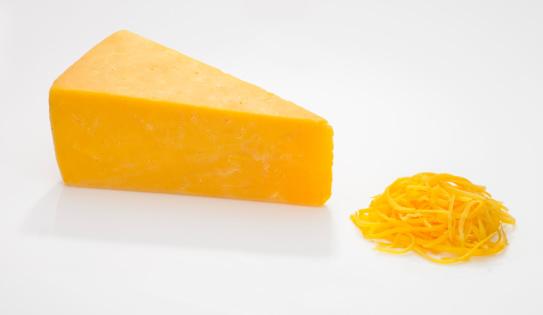 Cheddar Cheese「Wedge and Shredded Cheddar Cheese on White」:スマホ壁紙(13)