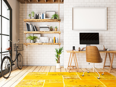 Illustration「Home Office with Workplace and Bicycle」:スマホ壁紙(4)