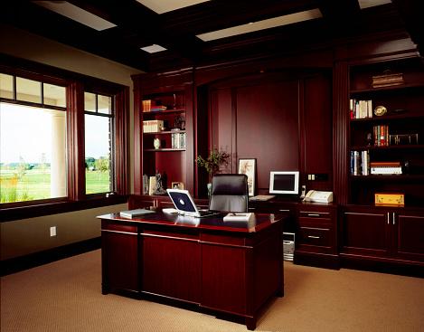Wood Paneling「Home office with dark wood panel walls」:スマホ壁紙(2)