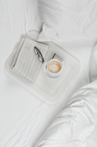 Breakfast「Tray of coffee with newspaper and spectacles on bed」:スマホ壁紙(9)