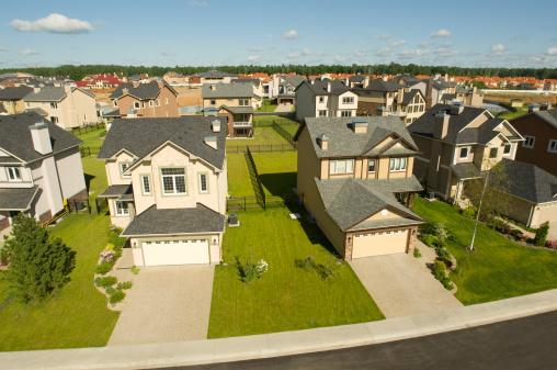Rooftop「Suburban houses. High angle view.」:スマホ壁紙(14)