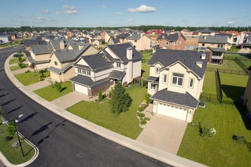 Rooftop「Suburban houses. High angle view.」:スマホ壁紙(15)