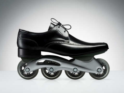 Roller skate「Men's black business shoe with rollerblade wheels」:スマホ壁紙(12)