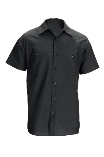 Casual Clothing「Men's black, short sleeved shirt-isolated on white w/clipping path」:スマホ壁紙(3)
