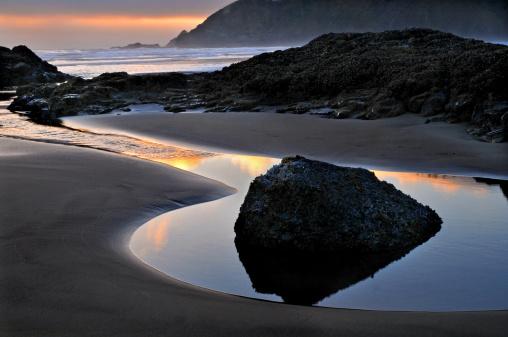 Cannon Beach「Sunset reflections」:スマホ壁紙(0)
