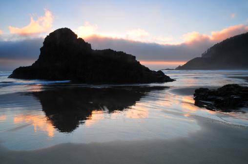 Cannon Beach「Sunset reflections」:スマホ壁紙(7)