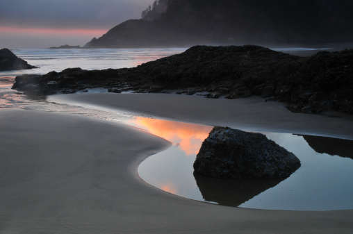 Cannon Beach「Sunset reflections」:スマホ壁紙(5)