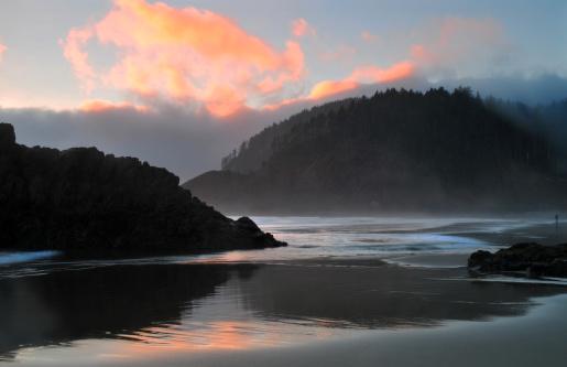 Cannon Beach「Sunset reflections」:スマホ壁紙(8)