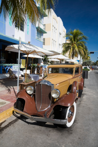 Miami Beach「ヴィンテージカーで、オーシャンドライブ、マイアミ」:スマホ壁紙(11)