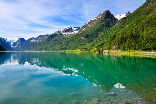 Eco Tourism「Olden lake near Briksdalsbreen Glacier, Norway」:スマホ壁紙(6)