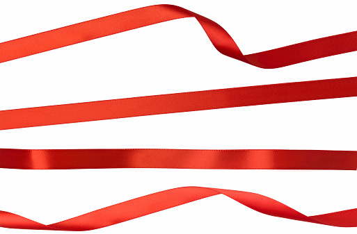 Red「Twisted Straight and Curled Red Isolated Ribbon Strips on White」:スマホ壁紙(10)