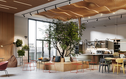 Sustainable Lifestyle「Creative office interior with cafeteria in 3d」:スマホ壁紙(8)