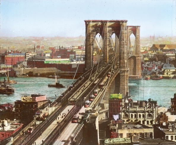 East River「The Brooklyn Bridge spanning the East River. New York. Hand-colored lantern slide. Around 1890.」:写真・画像(6)[壁紙.com]