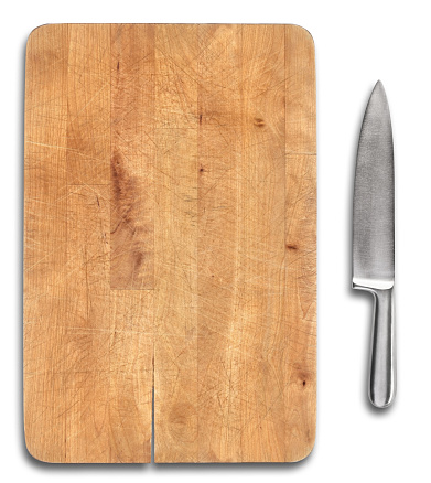 Kitchen Knife「Wooden bread cutting board with stainless steel knife isolated」:スマホ壁紙(11)