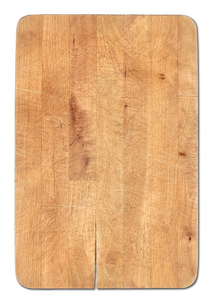 Wooden bread cutting board isolated on white, knife's cuts visible:スマホ壁紙(壁紙.com)
