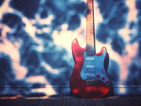 Rock Music「Electric guitar against the wall」:スマホ壁紙(17)