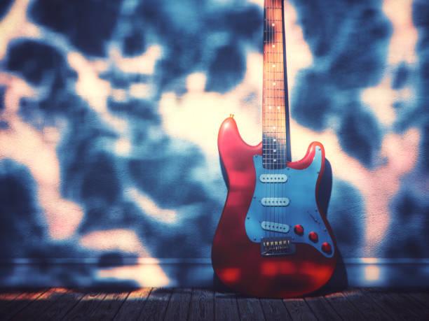 Electric guitar against the wall:スマホ壁紙(壁紙.com)