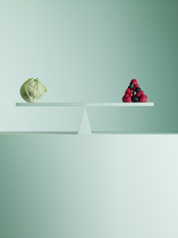 Equality「Cauliflower and Berries  balanced on opposite ends of seesaw」:スマホ壁紙(7)