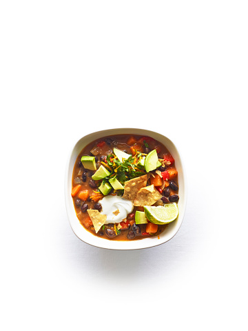 Sour Cream「Overhead black bean & sweet potato chili on white」:スマホ壁紙(2)