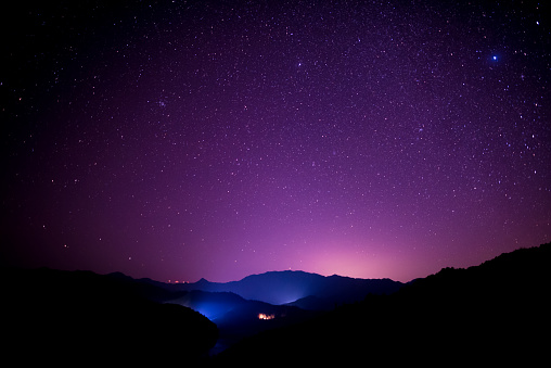 Light Trail「Starry sky scene on high mountains, South China」:スマホ壁紙(5)