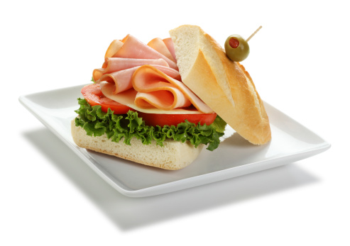 Sandwich「Ham and Turkey Sandwich Isolated on White」:スマホ壁紙(1)