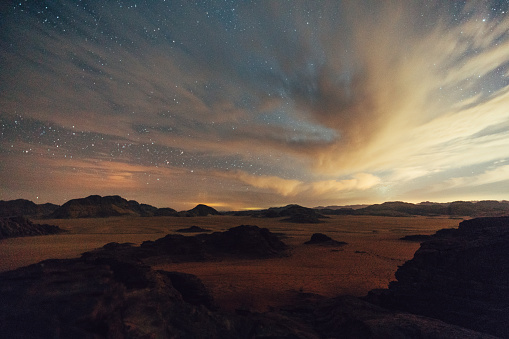 Milky Way「Scenic view of Wadi Rum desert at night」:スマホ壁紙(18)