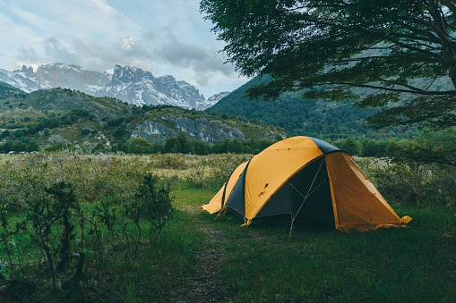 Tent「Scenic view of camping in mountains in  Torres del Paine National Park」:スマホ壁紙(5)