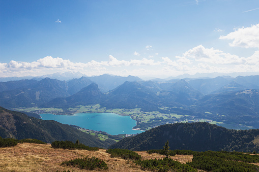 Dachstein Mountains「Scenic view of Wolfgangsee and Dachstein Mountains against blue sky」:スマホ壁紙(8)