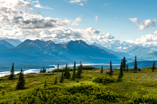 Alaska Range「Scenic view of river and Alaska Range mountains at Curry Ridge Trail in Denali State Park, Alaska, USA」:スマホ壁紙(12)