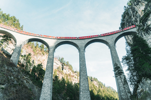 Fairy Tale「Scenic  view of train on  Landwasser viaduct in Switzerland」:スマホ壁紙(14)