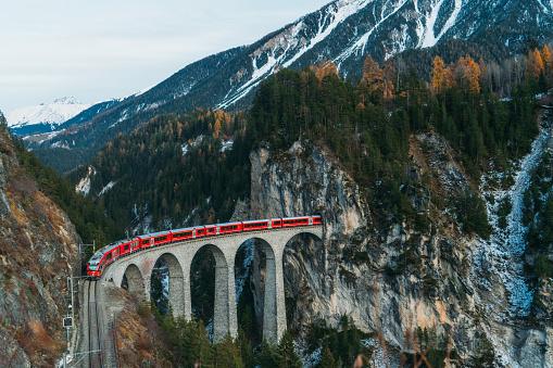 Fairy Tale「Scenic  view of train on  Landwasser viaduct in Switzerland」:スマホ壁紙(6)