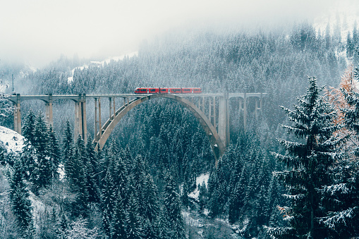 Swiss Alps「Scenic view of train on viaduct in Switzerland」:スマホ壁紙(1)