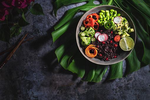 Pomegranate「Hawaiian Poke bowl recipe with black rice vegan recipe from Hawa with veggiesii」:スマホ壁紙(1)