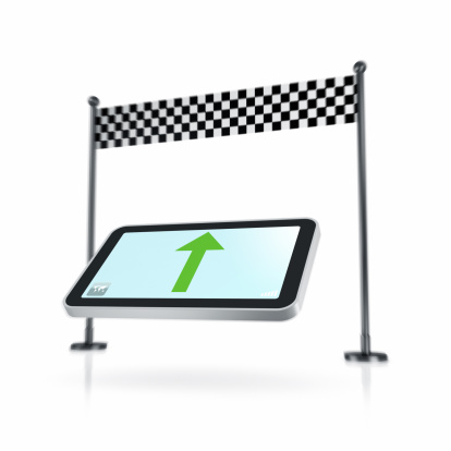 Sports Flag「Smartphone navigation and chequered flag on white」:スマホ壁紙(9)