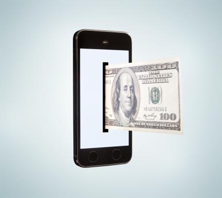 Mobile Payment「Smartphone dispensing 100 dollar bill.」:スマホ壁紙(11)