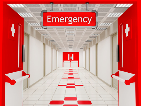 Accidents and Disasters「Hospital corridor with emergency sign」:スマホ壁紙(0)