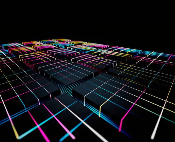 Abstract glowing blocks:スマホ壁紙(壁紙.com)