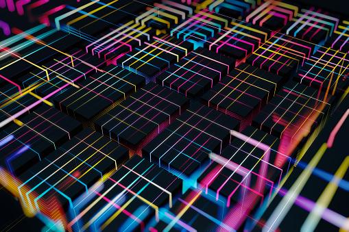 Quantum Computing「Abstract glowing blocks」:スマホ壁紙(18)