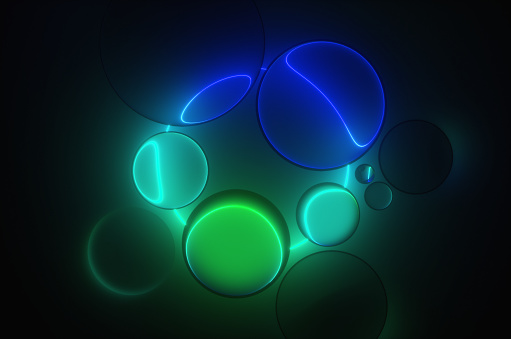 Fashion Show「Abstract glass spheres illuminated by a neon circle in a dark room. 3d render」:スマホ壁紙(18)