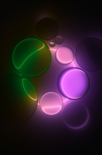 Fashion Show「Abstract glass spheres illuminated by a neon circle in a dark room. 3d render」:スマホ壁紙(15)