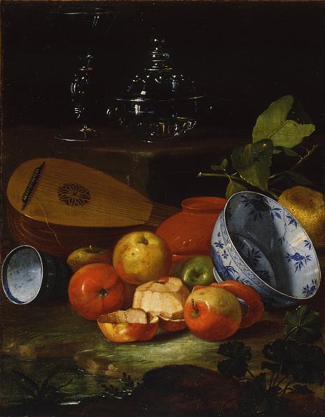 静物「Mandolin, cup and bowl, porcelain, apples, 1706」:写真・画像(4)[壁紙.com]