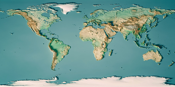 Pacific Ocean「World Map 3D Render Topographic Map Color」:スマホ壁紙(18)