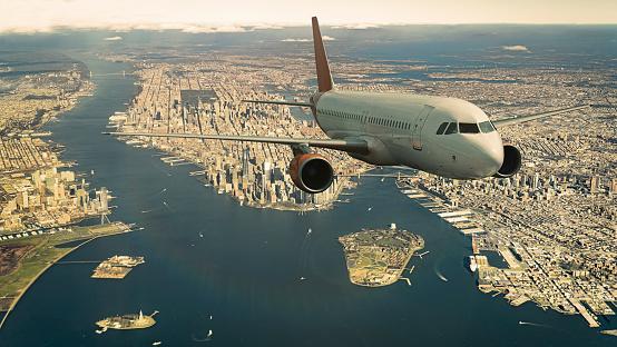 飛行機「Commercial jet flying over Manhattan」:スマホ壁紙(11)
