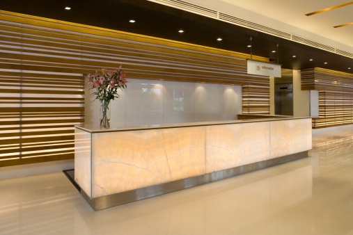 Bank Counter「Commercial Building Lobby And Reception Counter」:スマホ壁紙(9)