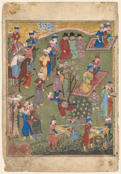 Animals Hunting「Royal Feast In A Garden (Recto) From The Double-Page Frontispiece Of A Shahnama...」:写真・画像(7)[壁紙.com]