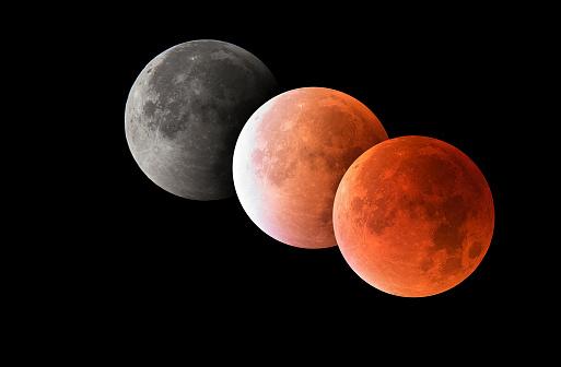 皆既月食「Various phases of a total lunar eclipse, blood moon, astrophotography」:スマホ壁紙(17)