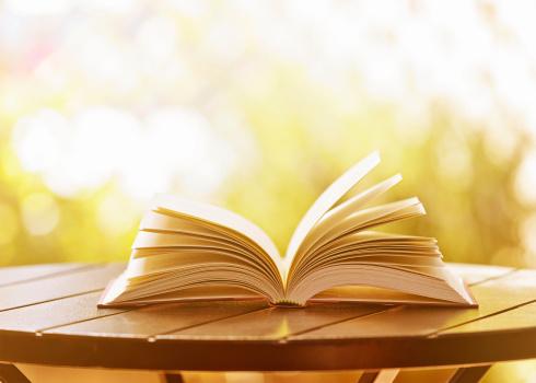 Hardcover Book「Open hardback book lying on garden table in soft sunshine」:スマホ壁紙(6)