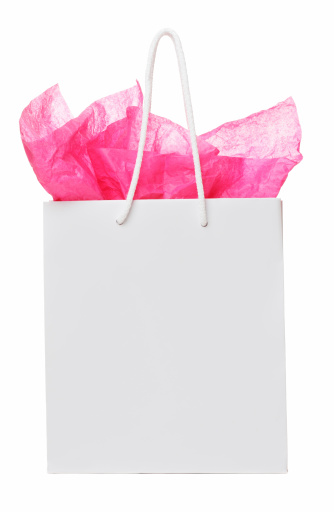 Gift Bag「White colored gift back, with pink paper sticking out 」:スマホ壁紙(10)